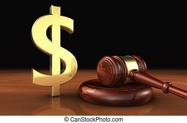 droit & loi, et, symbole argent, cout, de, justice, concept