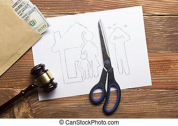 droit & loi, famille, divorce, concept., légal, découpage, papier, means., ciseaux, propriété, section