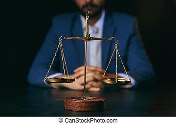 droit & loi, fonctionnement, justice, conseil, avocats, légal, ou, juge, avocat, complet, marteau, homme affaires, documents., concept.