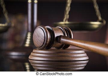 droit & loi, gavel bois, avocat, justice, concept, système légal, concept