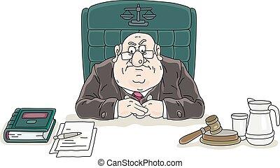 droit & loi, juge, bureau, tribunal, fâché, sien