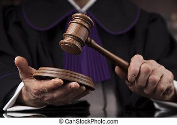 droit & loi, justice, concept., salle audience, juge, mâle