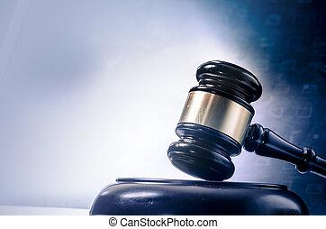 droit & loi, légal, concept, image, marteau, lapto