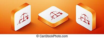 droit & loi, légal, isométrique, livre, isolé, carré orange, justice., concept, symbole, button., arrière-plan., symbole., enchère, balances, icône, law., marteau, vecteur, justice