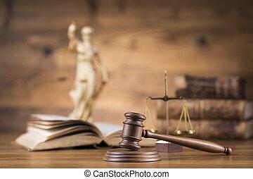 droit & loi, maillet, marteau, thème, concept, juge