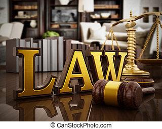 droit & loi, mot, marteau, et, équilibré, échelle, sur, bois, table., 3d, illustration