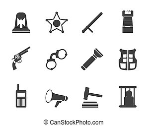 droit & loi, silhouette, ordre, police, icônes