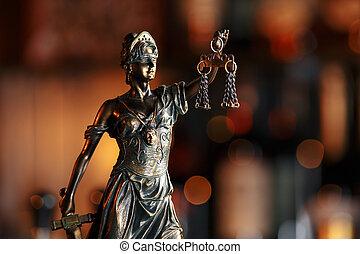 droit & loi, statue, fonctionnement, balances, justice, bureau., conseil, laptop., légal, avocat, concept.