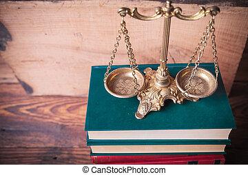droit & loi, vieux, fond, sommet bois, livres, échelle