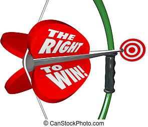 droit, mots, reussite, gagner, compétitif, arc, flèche, avantage