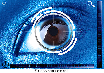 droit, oeil, balayage, identification, sécurité, ou