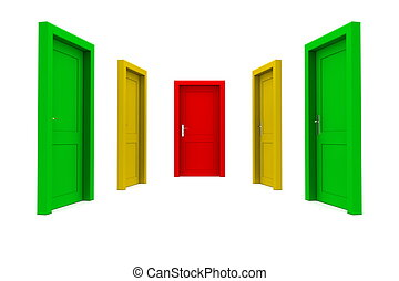 droit, porte, choisir