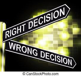 droit, poteau indicateur, décision, illustration, ou, mal, confusion, résultat, projection, 3d
