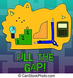 droit, remplir, disparu, texte, projection, solution, gap., puzzle., conceptuel, partie, endroit, photo, mettre, signe, sien, il