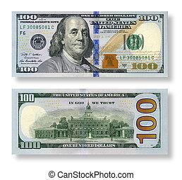 droit, renverser, dollars, isolé, côté, arrière-plan., nouveau, blanc, 100, set: