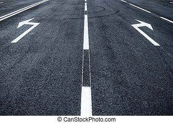 droit, signe, tourner flèche, route, gauche