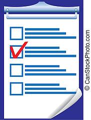 droit, vérification, illustration, vecteur, réponse, vide