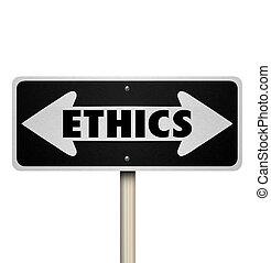 droit, vs, mauvais, signe, mal, bon, deux façon, éthique, choix, route