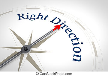 droite direction, compas