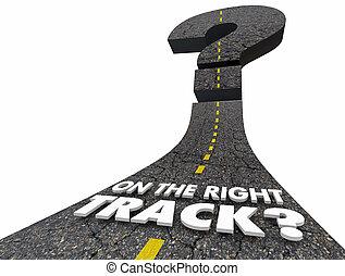 droite direction, piste, question, illustration, marque, route, 3d