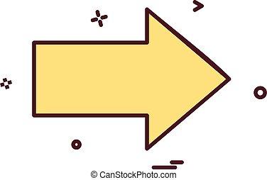 droite direction, vecteur, conception, icône flèche