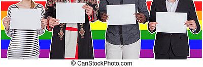 droits, différent, concept, feuilles, gens, flag., nationalités, fond, contre, lgbt, humain, liberté, tenue, vide