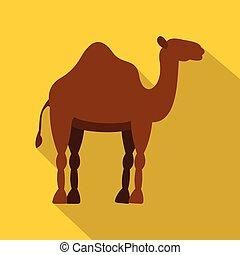 Dromedary camel icon, flat style