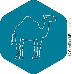 Dromedary camel icon, simple style