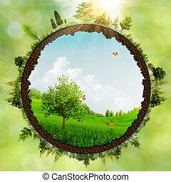 dromenland, milieu, abstract, achtergronden