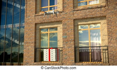 Dron delivers a package against an office building, 3d,...
