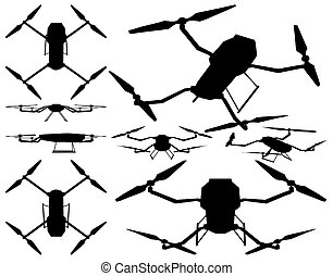 Drone Silhouette Isolated Illustration On White Background Vector