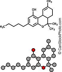 dronabinol), molecule., drog, cannabis, (delta-9-...