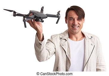 drone., 手掛かり, 隔離された, 人, 幸せ