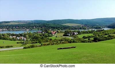 Drone aerial footage from a Hungarian landscape, near the...