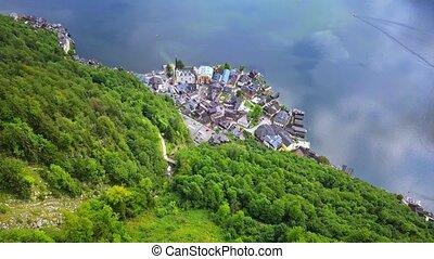 Drone aerial view - flying over Hallstatt, Austria - Drone...