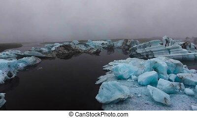 Drone aerial view of Icebergs in Jokulsarlon glacial lagoon ...