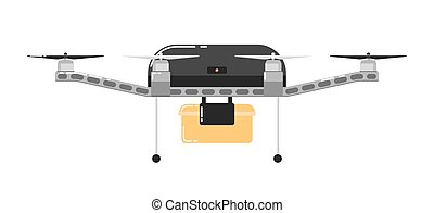 Drone aircraft isolated on white background