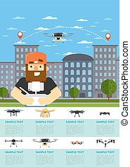 Drone aircraft website template with flying robot