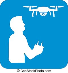 Drone with drone pilot icon