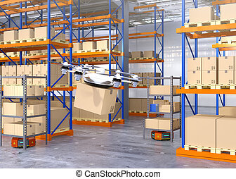 Drone and orange robots in modern warehouse