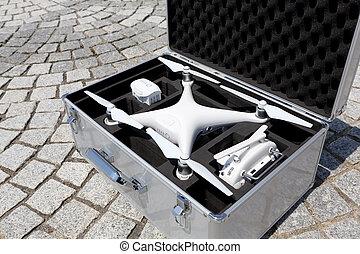 Drone before the flight in metal bag
