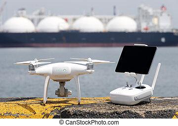 Drone before the flight on concrete blocks