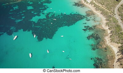 drone bird view of mediterranean sea by sardinia italy