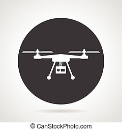 Flat black round vector icon with white silhouette quadcopter with action camera on gray background.