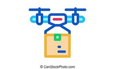 drone box delivering Icon Animation