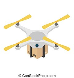 Drone box delivery icon, isometric style