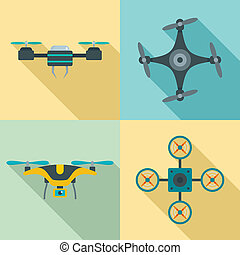 Drone camera quadcopter icons set, flat style