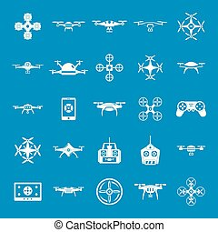 Drone camera quadcopter icons set, simple style
