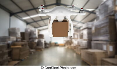 Drone carrying a boxy hovering a warehouse - Digitally ...