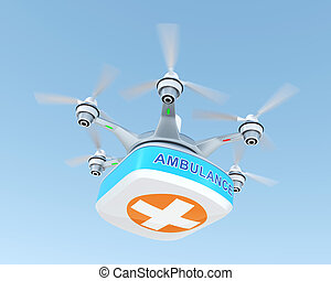 Drone carrying first aid kit for emergency medical care...